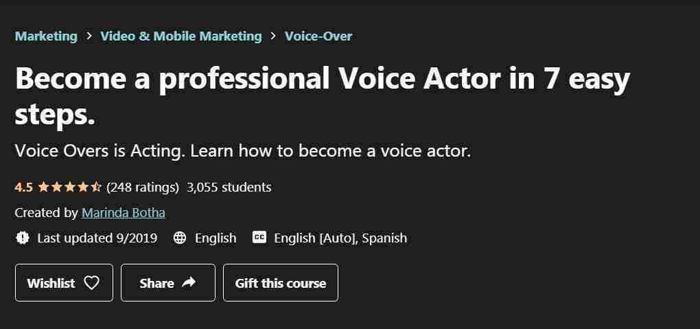 كورس Become a professional Voice Actor in 7 easy steps